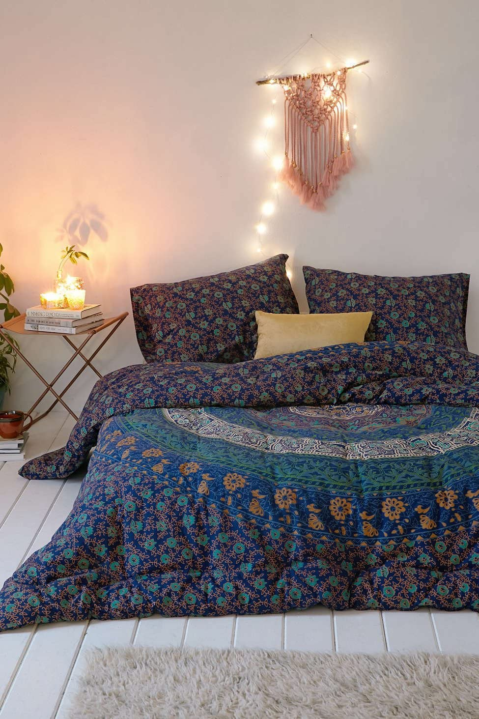Sophia Art Housse de couette avec taies d'oreiller, housse de couette mandala indienne style bohème, Coton, multicolore, Queen Size Bleu