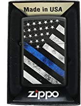 Zippo Custom Lighter - Blue Line Police Support USA Flag - Gifts for Him, for Her, for Boys, for Girls, for Husband, for W...