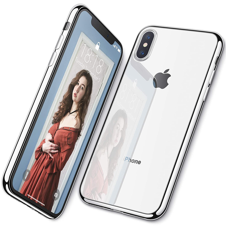 DTTO iPhone XS 専用ケース TPU ソフト 背面クリア+周りメッキ加工 超薄型 超軽量 ワイヤレス充電対応 水洗い可 傷つき防止 メッキシルバー