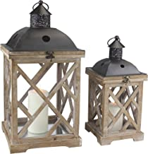 Stonebriar Decorative Wooden Hurricane Candle Lantern Set, Use As Decoration for Birthday Parties, a Rustic Wedding Center...