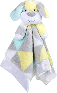 Minky Snuggle Blankets – Animal Character Loveys for Babies (Yellow/Blue)