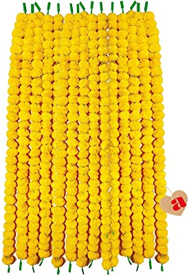 ARCHIES Artificial Flower Marigold Garlands Door Hanging Toran Banderwal Fluffy Flowers (Length 5Feet - 5 String Each String 30 Flowers Colour-Yellow) Wall Hanging for Home Decor, Office Use, Diwali