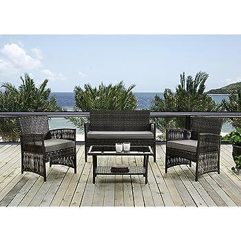 IDS Home - Juego de muebles de jardín y exterior para exterior e interior, de mimbre y ratán con cojines blancos: Amazon.es: Jardín