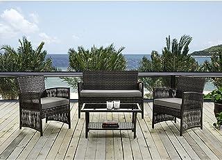 IDS Home - Juego de muebles de jardín y exterior para exterior e interior, de mimbre y ratán con cojines blancos