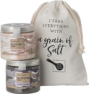 The Salt Box - 100% Natural Bath Salts Twin Pack Gift Set - 2 Bath Soak Jars with FREE Reusable Calico bag