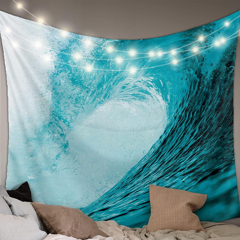 Popular [Alternative dealer] overseas MuswannaA Tapestry Wall Hanging Beach Curly Cyan Wal Ocean Waves