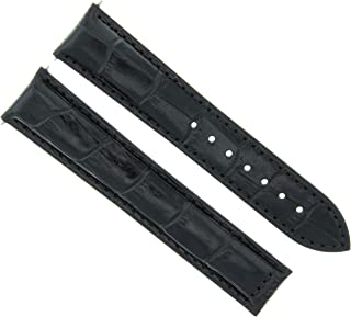LEATHER WATCH STRAP BAND CLASP FOR 20MM MAURICE LACROIX WATCH BLACK