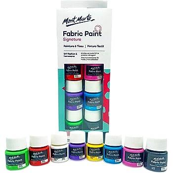 Pintura para Tela y Ropa Mont Marte Permanente y Lavable - 8 Colores x 20 ml - Pintura Textil Ideal para Personalizar Camisetas, Bolsas, Zapatillas