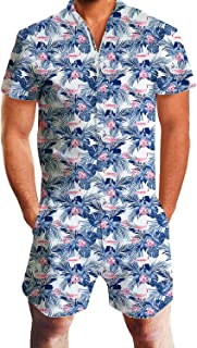 Men Printed One Piece Jumpsuit Button/Zip Short Sleeve Pants Rompers Overalls