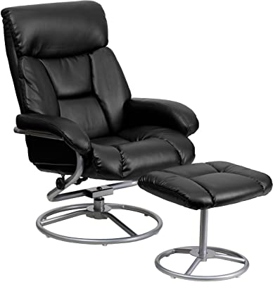 Flash Furniture Contemporary Multi-Position Recliner and Ottoman with Metal Base in Black LeatherSoft
