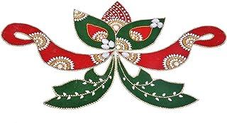 Daedal crafters- Velvet Rangoli Leaf Shape (Red and Green) DA102RAN