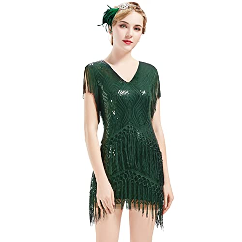 38f670877b2 BABEYOND 1920s Flapper Dress Long Fringed Gatsby Dress Roaring 20s Sequins  Beaded Dress Vintage Art Deco