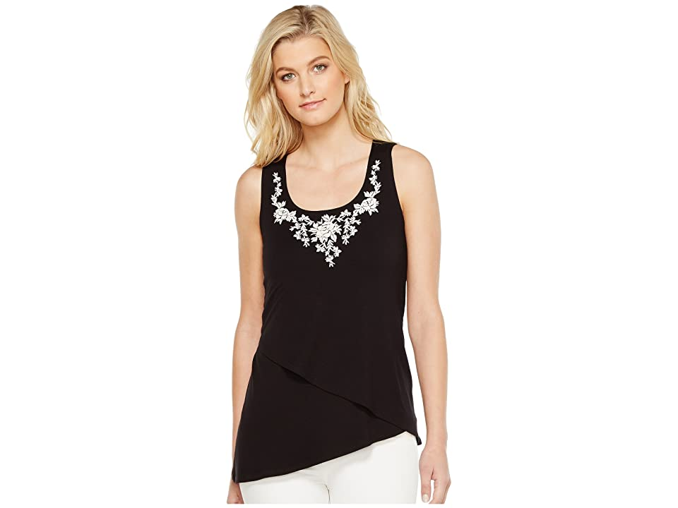 Karen Kane Asymmetric Embroidered Tank Top (Black) Women