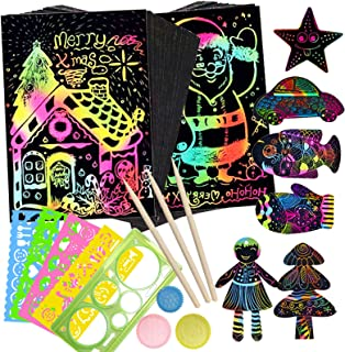 Scratch Paper Art Set for Boys Girls, Magic DIY Arts and Crafts Toy Kit 30 Scratch Papers, 5 Drawing Stencils, 3 Wooden St...