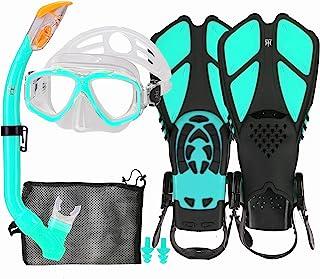 Kids Snorkel Set with Fins, Snorkel Fins Mask Set for Kids Child Snorkeling Gear With Flippers Anti Leak, Youth Snorkel Fi...