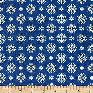 Patrick Lose Fabrics Studio Santa's Stash Stacked Snowflakes Fabric, Blue, Fabric By The Yard