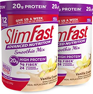 SlimFast Advanced Nutrition Vanilla Cream Smoothie Mix – Weight Loss Meal Replacement – 20g Protein – 11.4 Oz. Canister – ...