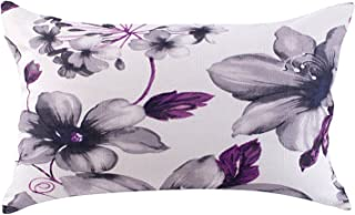 LAZAMYASA Fresh Animal Style Beautiful Rustic Birds Cotton Linen Blend Printed Cushion Cover Cotton Couch Throw Pillow Case Sham Pillowcase 12x20in, Purple Flower
