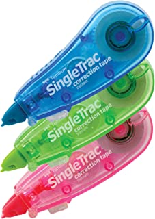 Tombow 68684 SingleTrac Correction Tape, Assorted Colors, 3-Pack. Ultra Compact Applicator for Instant Corrections