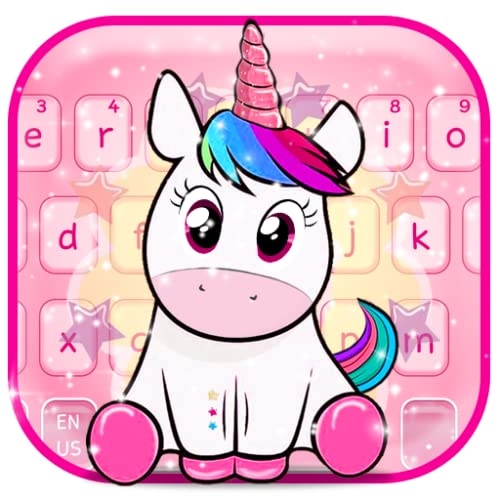 Cute Glowing Pink Unicorn Keyboard Theme