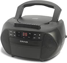 Craig Electronics - CD Boombox with AM/FM Stereo Radio and Cassette Player/Recorder