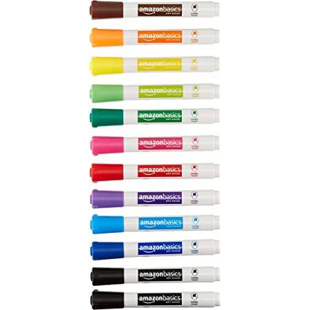Amazon Basics Dry Erase White Board Markers - Low Odor, Chisel Tip - 12 Pack, Assorted Colors