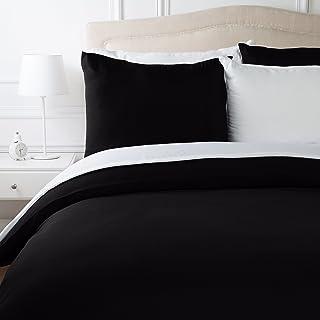 AmazonBasics Parure de lit en microfibre, noir, 240 cm x 220 cm/65 cm x 65 cm x 2