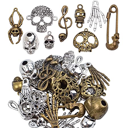 BronaGrand 100pcs Mixed Alloys Metal Antique Skulls-Shaped Pendant Charms Bracelet Necklace DIY Jewelry Making Accessory