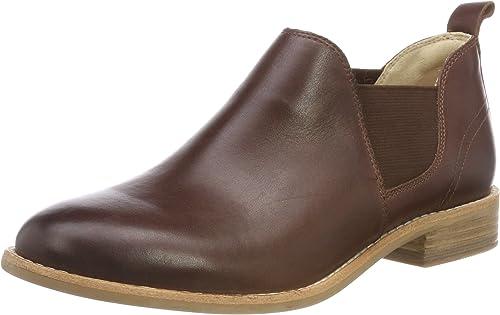 Clarks Women's Edenvale Page Dark Tan Lea Leather Boat Shoes