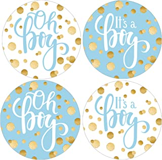 Blue and Gold Boy Baby Shower Favor Stickers - 1.75 in - 40 Labels
