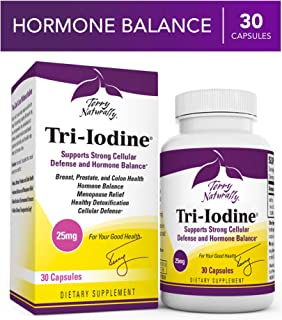Terry Naturally Tri-Iodine 25 mg - 25000 mcg Iodine, 30 Vegan Capsules - Supports Hormone Balance, Promotes Breast & Prostate Health - Non-GMO, Gluten-Free, Kosher - 30 Servings