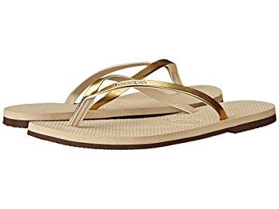 Havaianas You Metallic Flip Flops (Sand Grey/Light Golden) Women