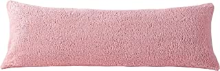 """Reafort Ultra Soft Sherpa Body Pillow Cover/Case with Zipper Closure 21""""x54"""" (Pink, 21""""X54"""" Pillow Cover)"""