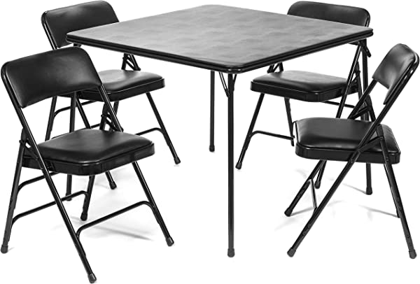 5pc XL Series Folding Card Table And Triple Braced Vinyl Padded Chair Set Commercial Quality Black