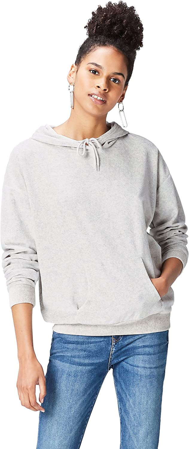 find. Women's NEW before selling Hooded-Sweatshirt in Velour Kangaroo Max 54% OFF with Pouch