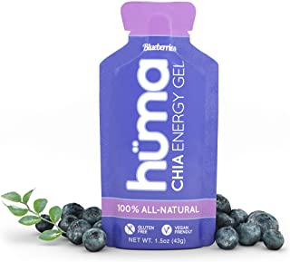 Huma Chia Energy Gel, Blueberries, 12 Gels - Premier Sports Nutrition for Endurance Exercise