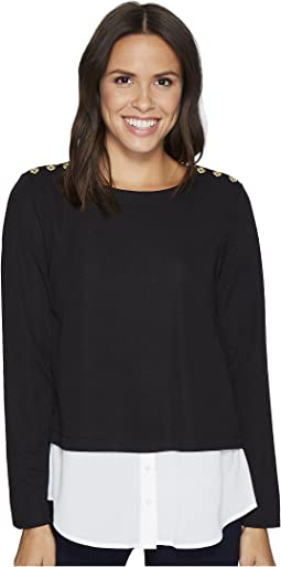 Calvin Klein - Textured Twofer Top with Buttons
