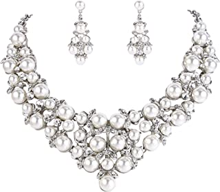 Clearine Women's Wedding Bridal Crystal Cream Simulated Pearl Cluster Statement Necklace Dangle Earrings Set