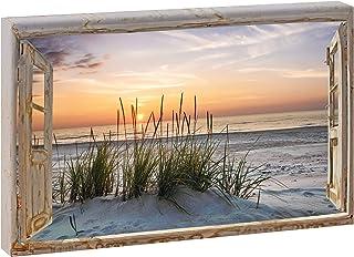 Bild Leinwand Fensterblick  Strand Meer Poster Wandbild 120 cm*80 cm 207q
