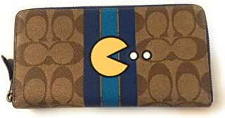 57678e1fae1b7 Coach Limited Edition Pac-Man Collection Signature Accordion Full Zip Wallet  in Khaki Denim