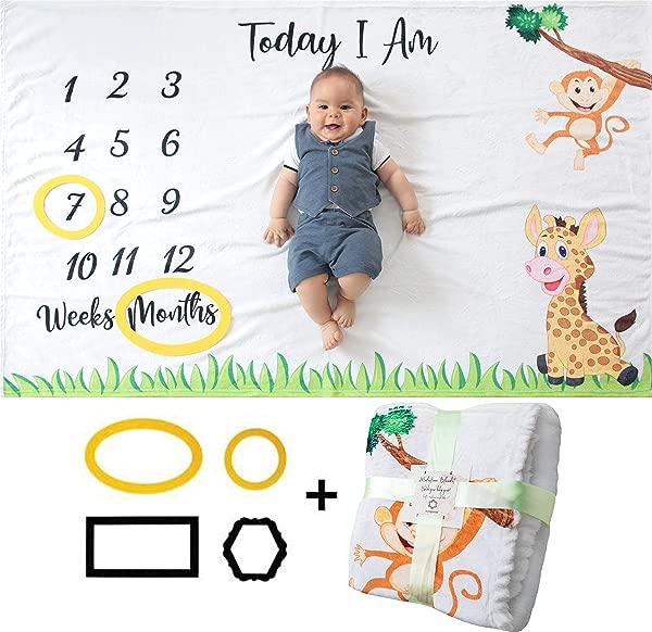 婴儿每月里程碑毯女孩或男孩男女通用月子毯婴儿图片个性淋浴礼物新妈妈轨道成长年龄柔软厚大