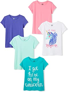 Amazon Brand - Spotted Zebra Girls' Toddler & Kids 5-Pack Short-Sleeve T-Shirts