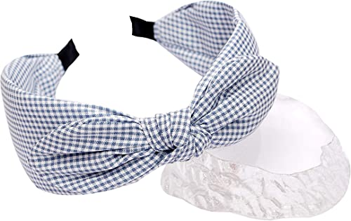 Vogue Hair Accessories Printed Check Bow Fabric Knot Metal Hairband Headband