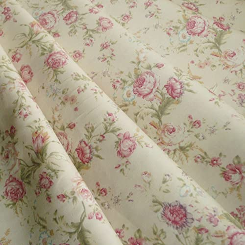 9d0eea7e59 Cream   Rose Floral woven cotton poplin vintage style print Fabric - sold  by the metre