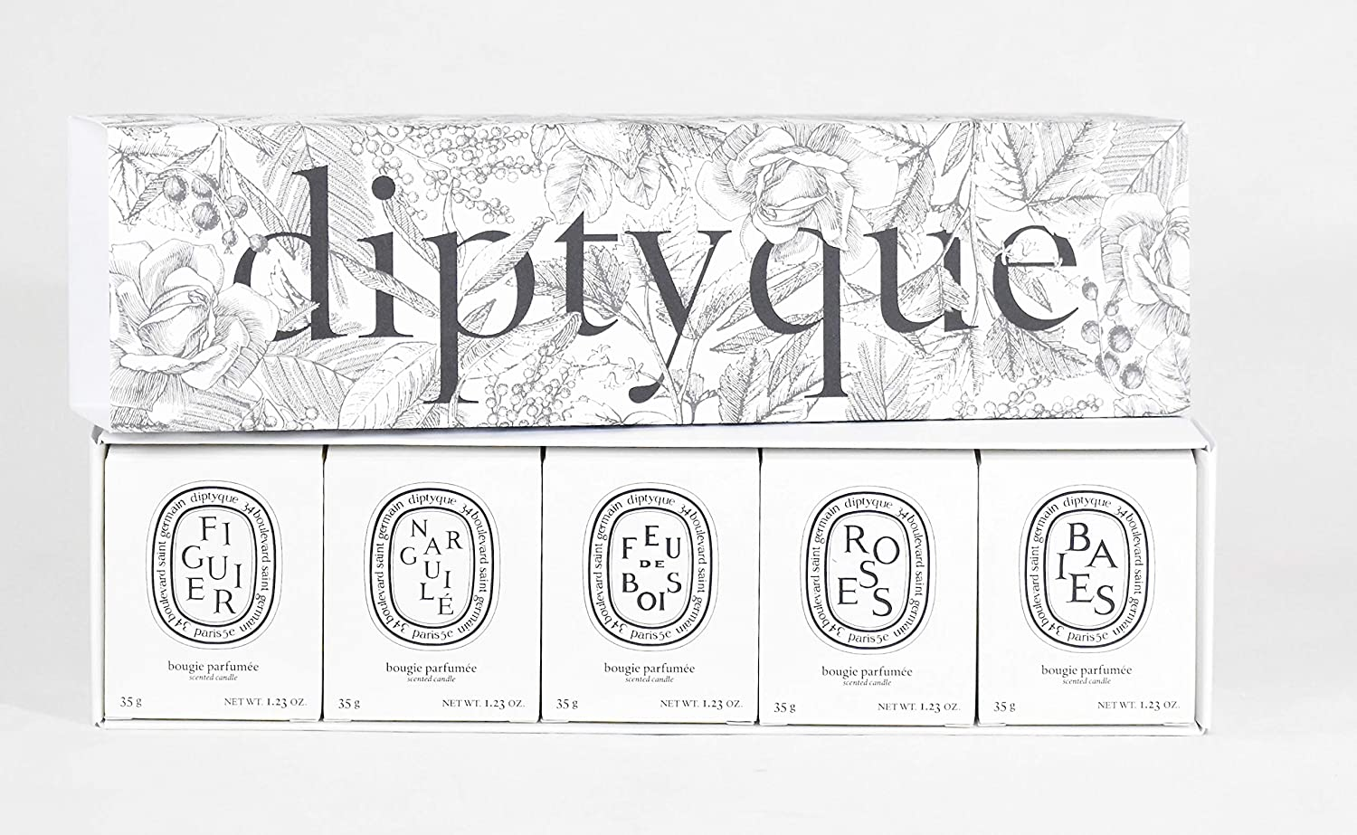 Buy Diptyque Set of Five Scented Candles   Baies, Roses, Figuier ...