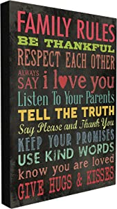 Stupell Industries Family Rules Chalkboard Style Stretched Canvas Wall Art, 16 x 1.5 x 20, Multi-Color