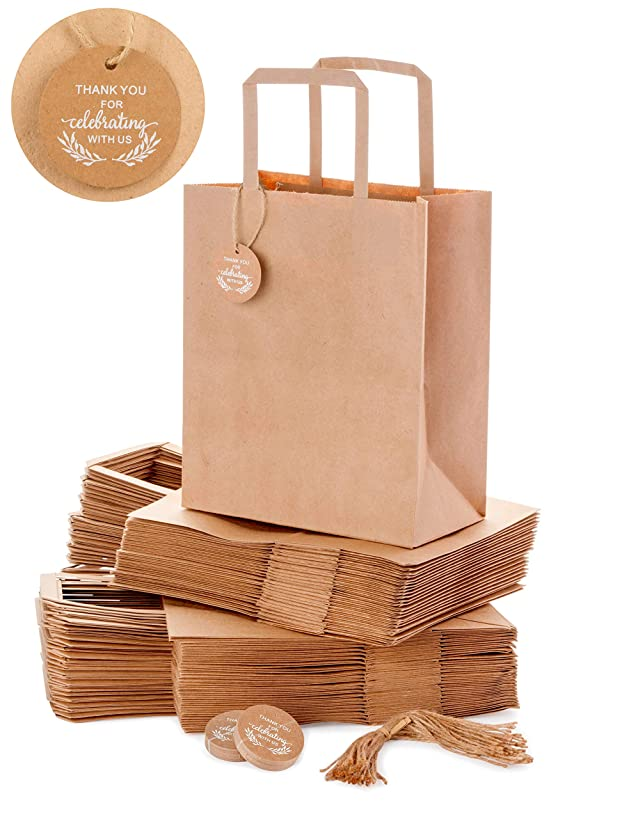 """OSpecks Brown Kraft Paper Gift Bags with Thank-You-for-Celebrating-with-Us Tags for Wedding Guests, Birthday, Celebration, Party, Reunion, 50 Count, Medium 8""""x4.75""""x10"""", Include 50 Tags and Strings"""