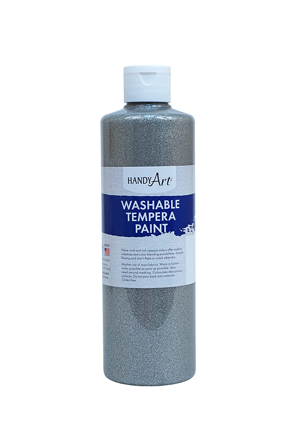 Handy Art Glitter Washable Paint 16 ounce, Silver