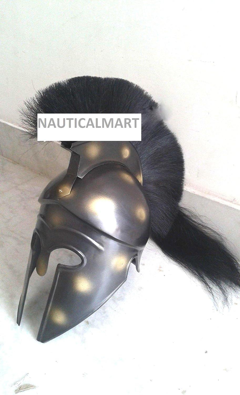 NauticalMart Greek Corinthian Armor Spartan Warrior Helmet Black Plume