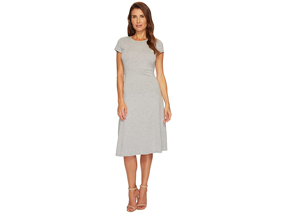Mod-o-doc Cotton Modal Spandex Jersey Cap Sleeve Fit and Flare Dress (Smoke Heather) Women